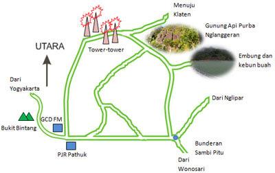Peta lokasi gunung api purba nglanggeran dan embung