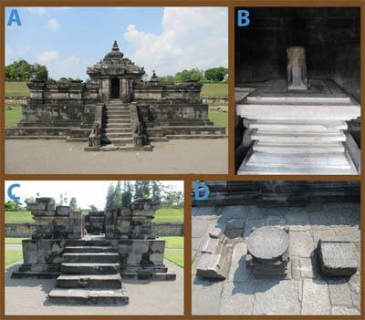 Gambar. Komplek Candi Sambisari beserta isi di dalamnya a) Candi Induk, b) Yoni di dalam Candi Induk, c) Candi Perwara dan d) Seperti batu duduk